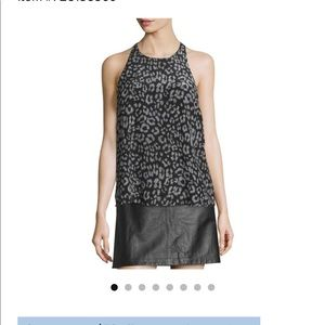 Joie Grey/Black Silk Animal Print Tank Sz XS